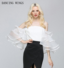 european style Sexy Perspective mesh patchwork chiffon strapless tops white trumpet sleeve short paragraph backless shirt