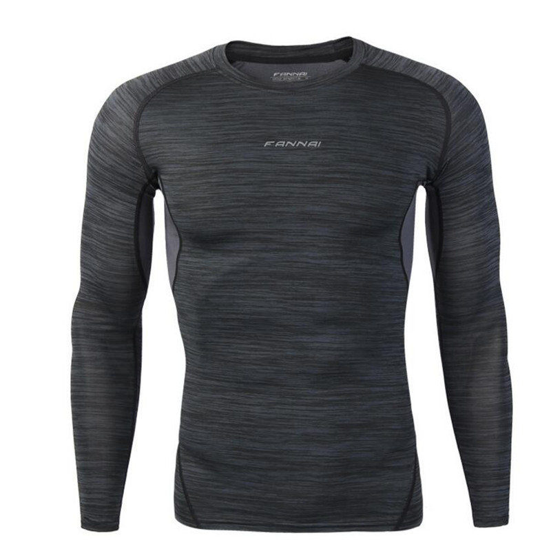 Compression Skin Tight Shirts Men Bodybuilding t-shirt Quick dry MMA Fitness Running workout Male Long sleeves tee tops clothes casual round neck stripes pattern black long sleeves sweat dry tight t shirt for men