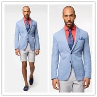 Новый брендовый блейзер Мужской Повседневный хлопковый Блейзер светло голубой Мужской приталенный пиджак мужской блейзер