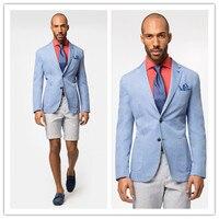 Фирменная Новинка Блейзер Для мужчин Повседневное хлопковый Блейзер светло голубой цвет Для мужчин Slim Fit Куртки Для мужчин S блейзер