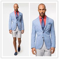 Brand New blazer men Casual cotton Blazer light blue Men's slim fit Jackets mens blazer