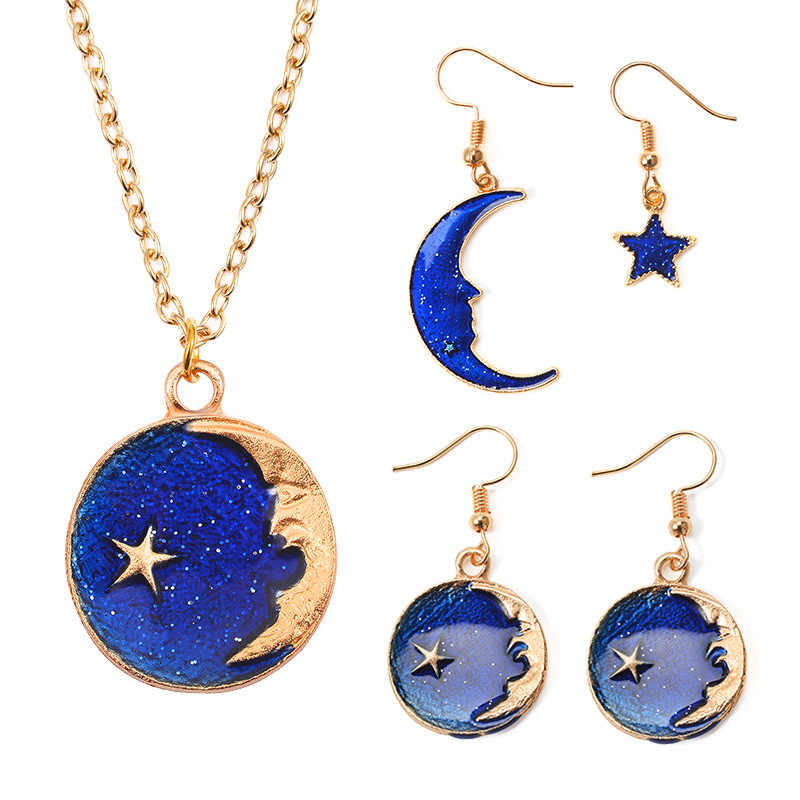 New Fantasy Planet Women Girls Heart Blue Star Necklace Earrings Set Small Fresh Long Asymmetric Earrings Wedding Jewelry Gift