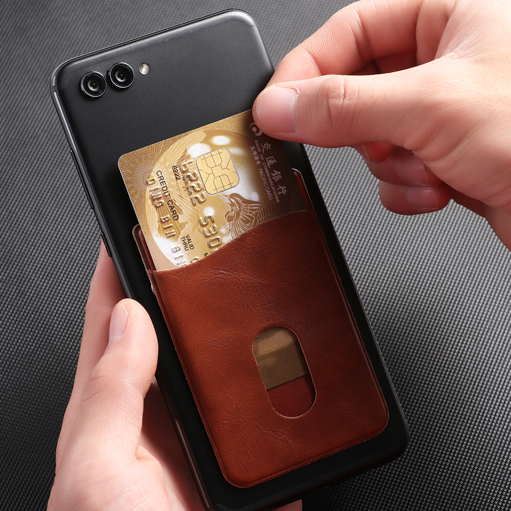 Leather Card Holder Sticker Adhesives Credit ID Card Mobile Phone Back Pocket Wallet Case Stickers Bag Pouch