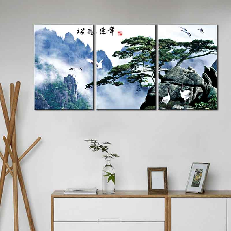 3 pcs set classic traditional chinese int tpainting pine tree and crane canvas wall art picture. Black Bedroom Furniture Sets. Home Design Ideas