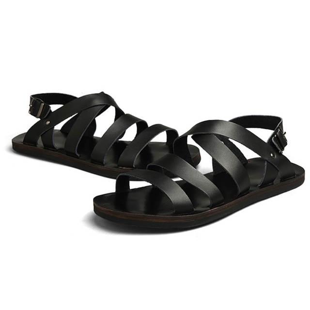 93164c81d placeholder Summer Men Sandals Leather Vintage Flat Heel Solid Buckle Beach  Gladiator Sandals For Men Breathable New