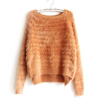 Short Mohair Crop Sweater Harajuku Sweater Mini Slim Pullovers Pure Color High Low Style Women Knit Coat Top Pull Femme