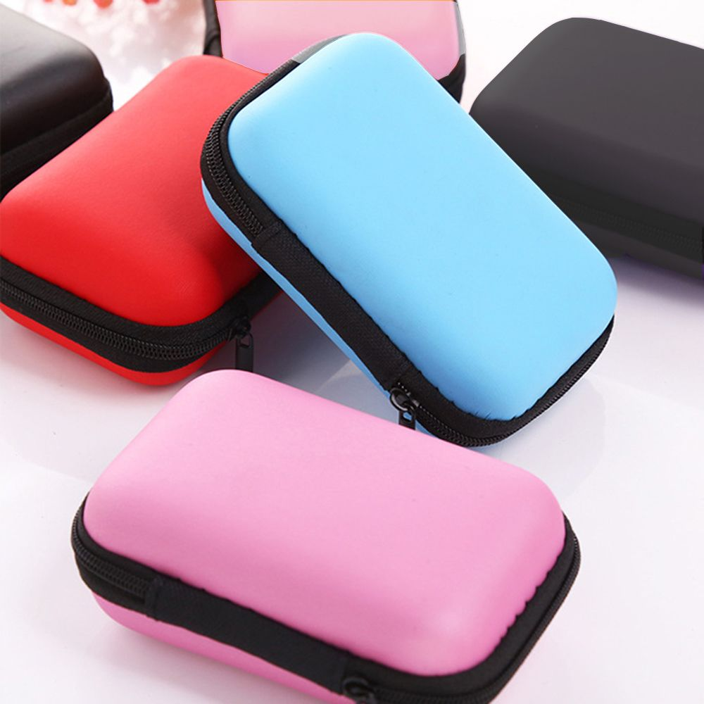 New Color!! 1PC High Quality Portable Earphone Headphone Earbuds Bag SD TF Card Data Cable Hard Case Earphone Cable Storage Box