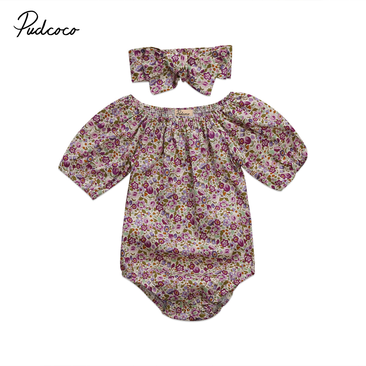 Baby Floral Rompers Jumpsuit Cute Newborn Baby Girls Purple Short Sleeve Romper Headband Outfits Summer Kids Clothes 0-24M