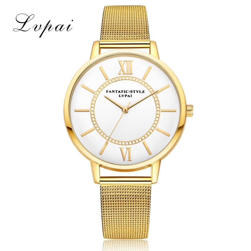 New Fashion Unisex Watch Women LVPAI Top Brand Steel Mesh Band Analog Quartz Wrist Watches Ladies Dress Clock Men's Reloj #JU misscycy lz the 2016 new fashion brand top quality rhinestone men s steel band watch quartz women dress watch relogio feminino