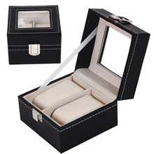 2 Grid Black Watches Box With A Mirror