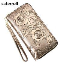 f5a3574a006a3 Echtes leder brieftasche frauen floral weibliche geldbörse lange echt leder  kupplung geld tasche luxus marke damen brieftaschen .