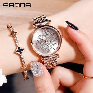 Image 2 - 2019 חדש SANDA נשים של שעון יוקרה פלדת חגורת צמיד אופנה שעון מראת זכוכית מינרל מזדמן עמיד למים קוורץ שעון