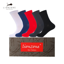 Mens Dress Socks For Business Clothing Thick Antibacterial Hygroscopic Breathable Bamboo Fiber 5 Pairs/Lot With Gift Box