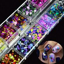 1 pudełko błyszczące okrągłe ultracienkie cekiny do paznokci mieszane rozmiary kolorowe ozdoby do sztucznych paznokci Manicure 3D akcesoria do paznokci okrążenie