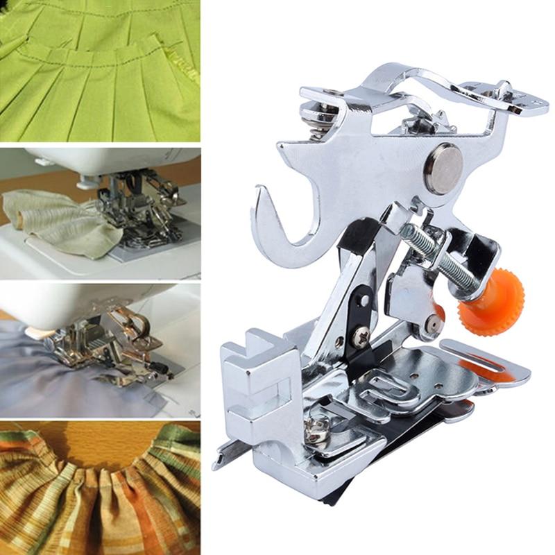 Hogar Ruffler prensatelas baja espiga falda adjunto prensatelas máquina de coser accesorios DJ0477