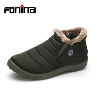 Winter Adult Solid Warming Slip On Ankle Snow Boots Men Cotton Fabric Round Toe Flat With