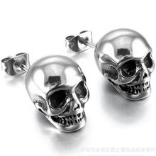 2019 Punk Rock Skull Mens Earrings For Women Stainless Steel Small Stud Earings Jewelry Dropshipping Gift