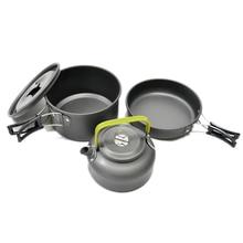 3pcs/Set Camping Cookware Utensils Aluminum Alloy Outdoor Cooking Teapot Picnic Tableware Kettle Pot Frying Pan цена и фото