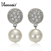 Viennois Luxury Silver Color Zircon Stud Earrings Women Fashion Jewelry Simulated Pearl Geometric Earrings For Party