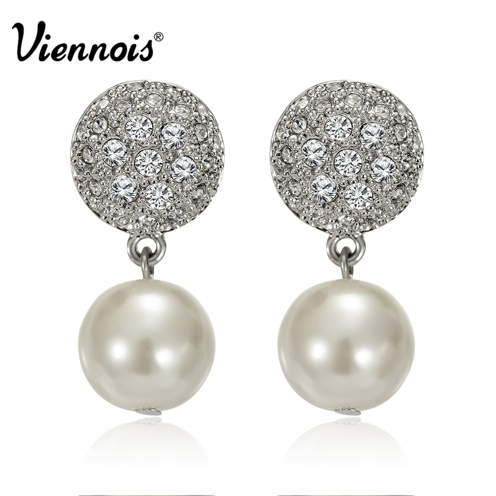 все цены на Viennois Luxury Silver Color Zircon Stud Earrings Women Fashion Jewelry Simulated Pearl Geometric Earrings For Party Wedding
