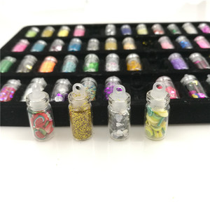 Image 5 - 48 bottles/pack nail glitter powder fitness women decoration crush shell pearl beads mini bottle nail art charm