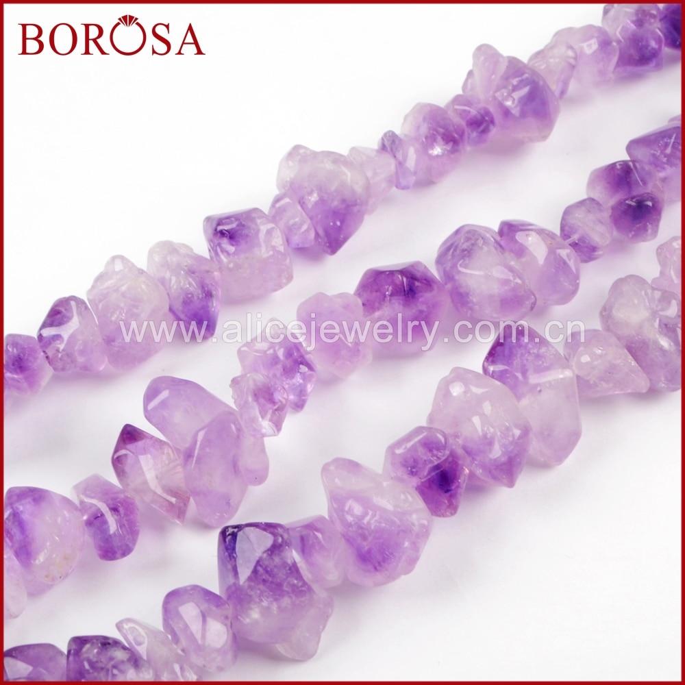 BOROSA diseño 16 pulgadas moda pulido amatistas naturales Chips suelta perlas púrpura Natural cuentas de cristal cadenas de joyería 2018 LS022-in cuentas from Joyería y accesorios    1