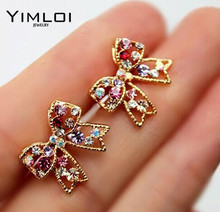 Cute Fashion Graceful Colorful Rinestone Bowknot Stud Earrings Studs Bow Earring E127