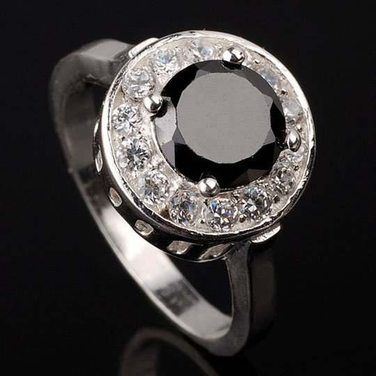 eLuna Lady Fashion Cocktail Silver Ring Size 7 Black Onyx CZ 3.3ct  Other Size Styles Available J0507