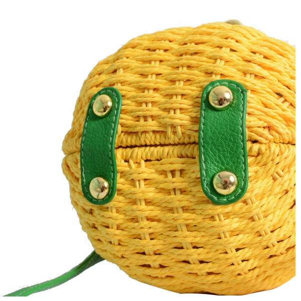 5) 1 Pcs New Straw Bag New Cute Fruit Bag Pineapple Package Pure Handmade Woven Circular Handbag (Color: Yellow) color the five star fruit needle disposable fruit sign package of more preferential 250 pcs bag