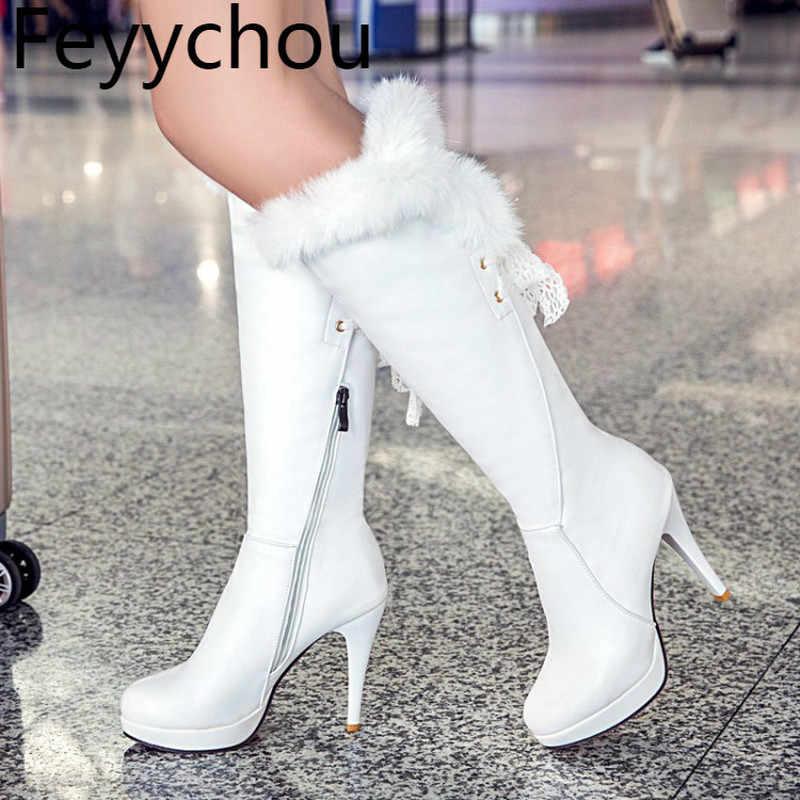 Giày Bốt Nữ Thu Đông Của Thỏ Tóc Phối Ren Chống Thấm Nước Cao Cấp Trắng Cao Cấp Xi Lanh Giày Mỏng Mới Gợi Cảm thời Trang Khóa Kéo Đen