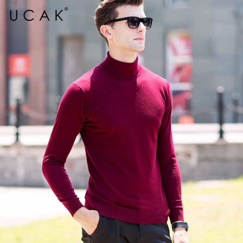 UCAK מותג סוודר גברים קלאסי מקרית למשוך Homme טהור צמר מרינו סוודר גברים סתיו חורף גולף קשמיר סוודרים U3004