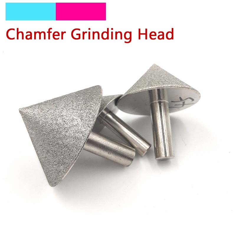 1pcs Plating Diamond Cone Chamfer Grinding Head 90 Dregree For Stone Jade Glass Drilling Chamfer Grinding Tools 20-60mm