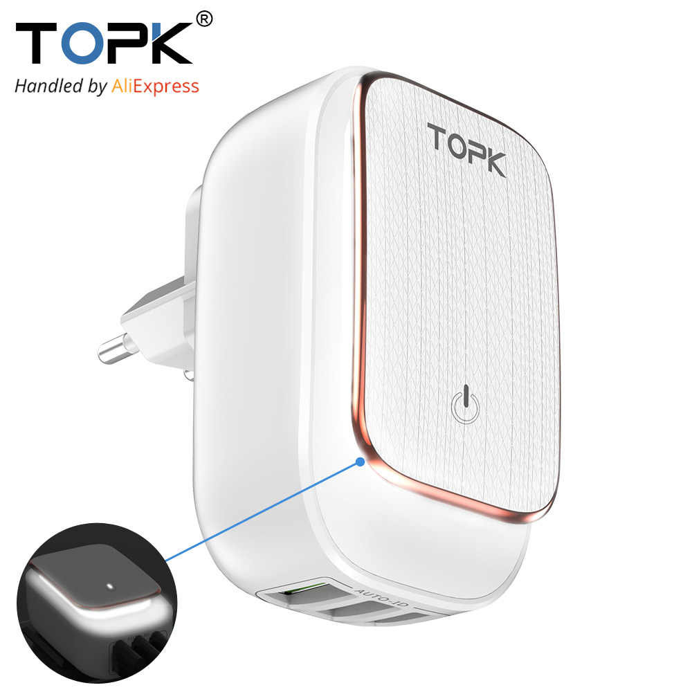 TOPK 3 Ports LED USB Charger 5V 3.4A 2-in-1 Travel wall EU and US AC Adapter auto- ID mobile phone Charger for iPhone Samsung