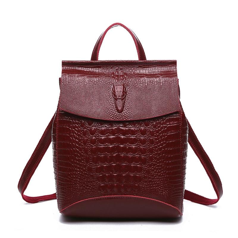 2017 Leather Crocodile Pattern Ladies Backpacks Leather Shoulder Bag Daul use Women Back Pack School Bag