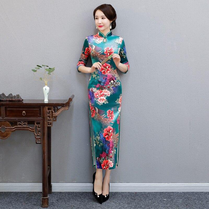 Women Half Sleeve Velvet Qipao Chinese Mandarin Collar Cheongsam Elegant Lady Print Flower Evening Dress Vestidos Plus Size 4XL