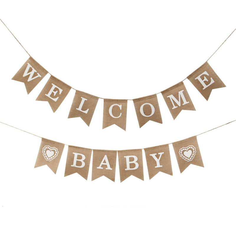 Alphabet Banner Welcome Baby Ceiling Decoration Photo Props Burlap Swallowtail Flag Decoration Supplies Outdoor Wedding