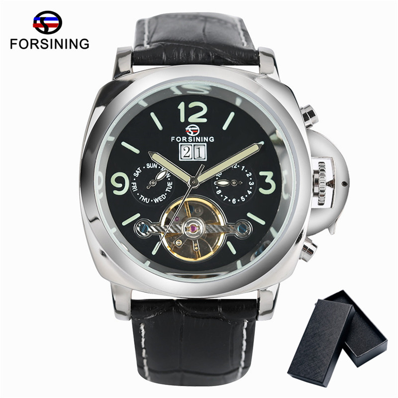 FORSINING Watch Men Skeleton Automatic Winding Mechanical Men's Watches Leather Band Dress Wristwatch for Men Gift relogio +Box