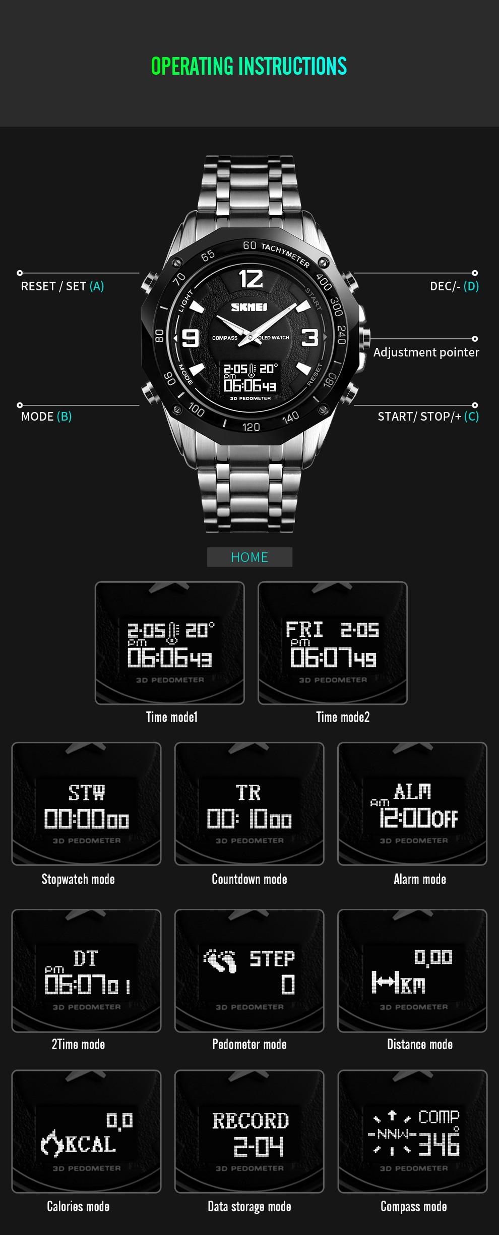 dwaterproof água relógio militar bússola termômetro relógios digitais