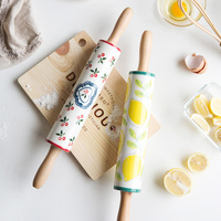 MDZF Japanese style Ceramic Rolling Pin Large Roller Rod Olive Rod Household Baking Tool Roll Ba