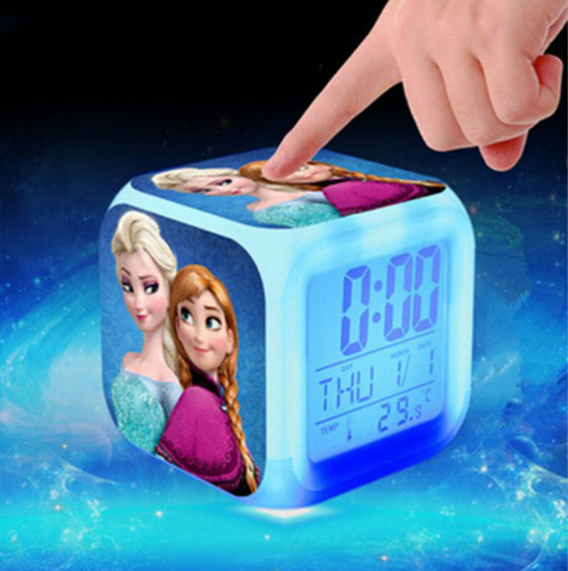 Hot Sales Princess Elsa Anna Minions Pokemon go Digital Alarm Clock Color Changing LED reloj despertado Clock Kids Cartoon Toys