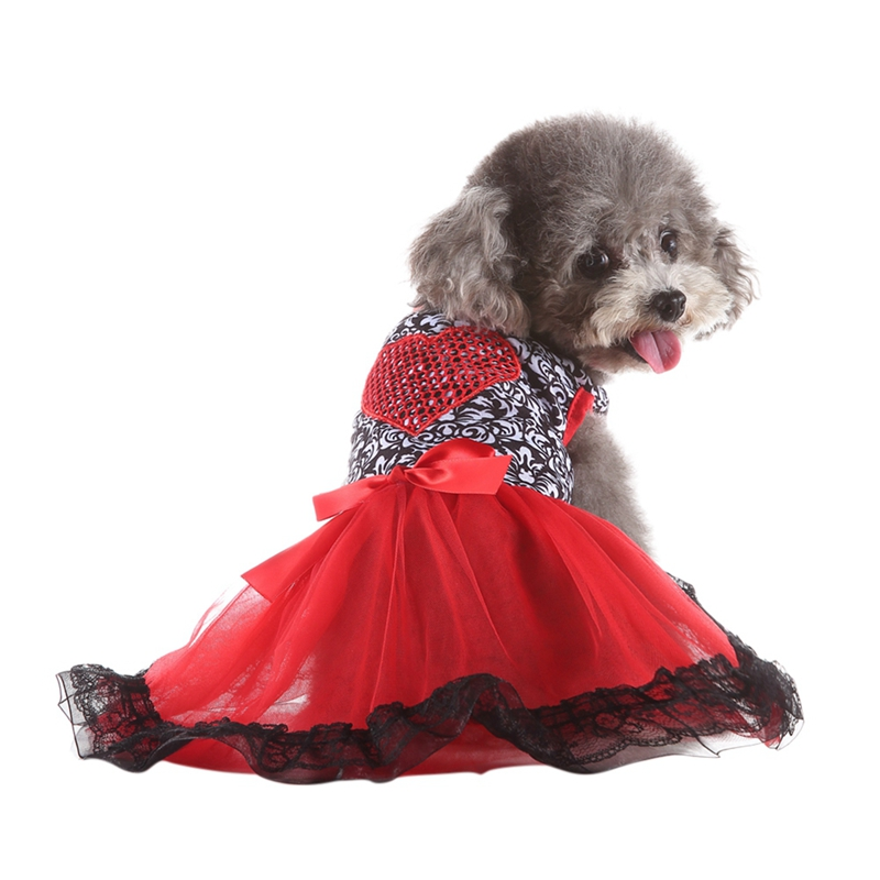 Pet Spring & Summer Clothes <font><b>Dog</b></font> <font><b>Harness</b></font> <font><b>Dress</b></font> Love Heart Vest Shirts Lace <font><b>Dress</b></font> <font><b>Dog</b></font> <font><b>Dress</b></font> Make The <font><b>Dog</b></font> More Beautiful Cute image