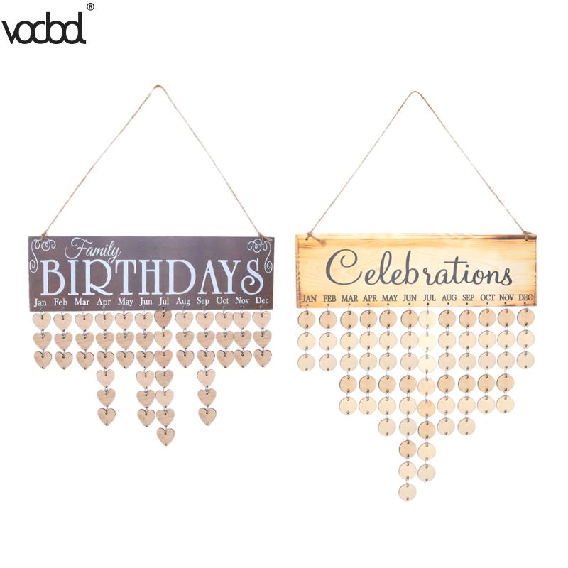 VODOOL DIY Wooden Birthday Wall Calendar Family Friends Special Dates Celebration Sign Board Creative Home Hanging Decor Gifts