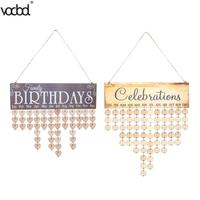VODOOL DIY Wooden Birthday Wall Calendar Family Friends Special Dates Celebration Sign Board Creative Home Hanging