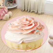 Lovely 3D Ice Cream Cotton Candy Round Carpet Toilet Bath Mat Living Room Parlor Girls Bedroom Chiar Rugs Decorate tapete