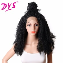Deyngs Synthetic Lace Front Wigs for Black Women Afro Kinky Curly Synthetic Wigs Heat Resistant Natural Black Hair Glueless Lace
