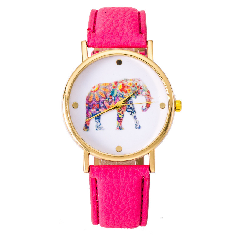 NEW Fashion Hippie Elephant watch Woman Golden Women wristwatch Vintage PU leather casual dress Geneva Style Drop shipping 5 5 2