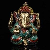 Непал чистой меди ручной работы мозаика камень роспись хобот слона Бог богатства Статуя
