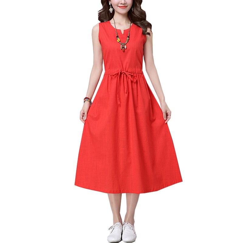 Saiqigui 2019 Summer Chinese Style Sleeveless Women Dress Casual A-Line Solid Slim Cotton Linen Dress V-neck Vestidos De Festa