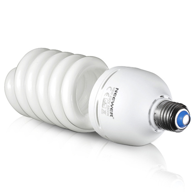 Neewer 65W 220V 5500K Tri Phosphor Spiral CFL Daylight Balanced Light Bulb In E27 Socket For Photo And Video Studio Lighting