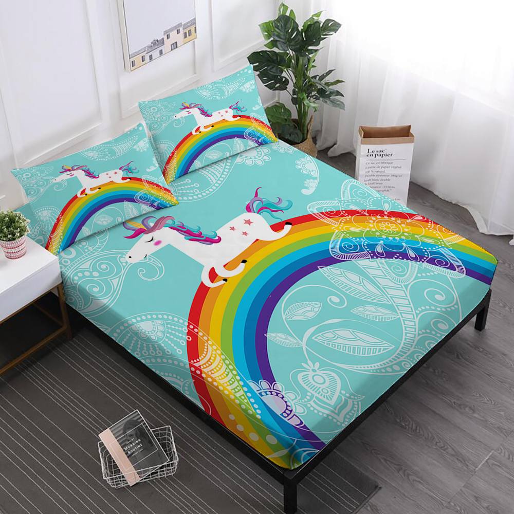 Kids Cartoon Unicorn Bed Sheets Colorful Rainbow Print Fitted Sheet Flowers Bed Linens King Queen Pillowcase Home Textile D35Kids Cartoon Unicorn Bed Sheets Colorful Rainbow Print Fitted Sheet Flowers Bed Linens King Queen Pillowcase Home Textile D35